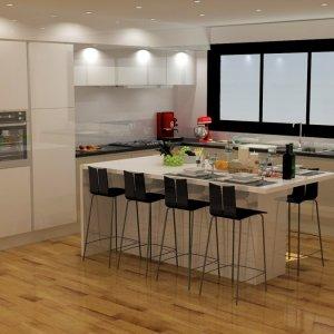 Projet 3D cuisine meubles blancs laqués