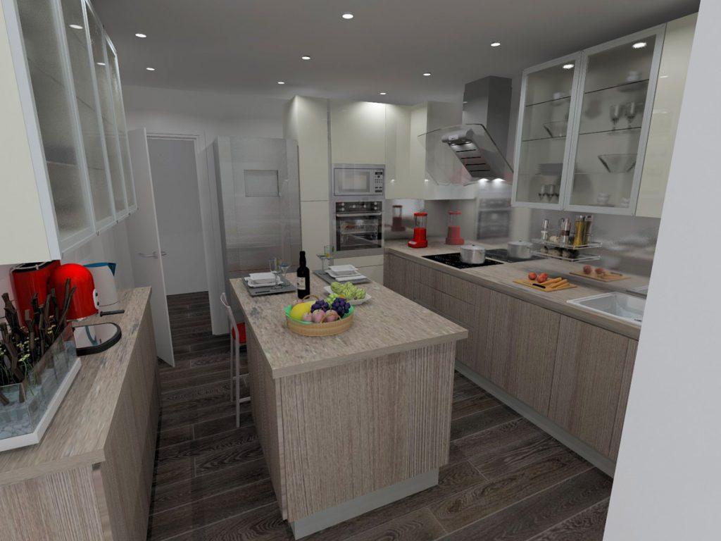 Projet 3D cuisine avec îlot