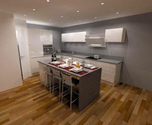 Projet 3D cuisine avec table à manger
